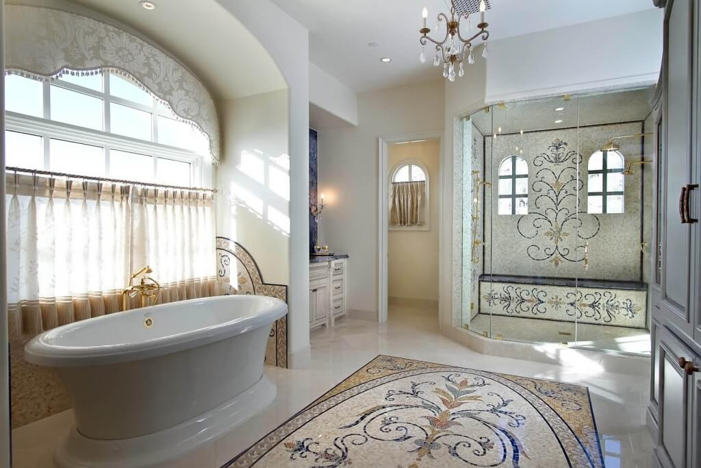 Tile installation cost for a bathroom remodel for Mosaic tile bathroom design
